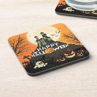 Spooky Haunted House Costume Night Sky Halloween Coaster