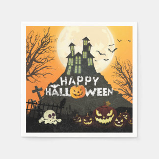 Spooky Haunted House Costume Night Sky Halloween Disposable Serviettes