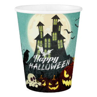 Spooky Haunted House Costume Night Sky Halloween Paper Cup