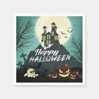 Spooky Haunted House Costume Night Sky Halloween Paper Napkin