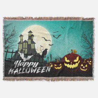 Spooky Haunted House Costume Night Sky Halloween Throw Blanket