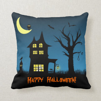 Spooky Haunted House Halloween Decorative Pillows