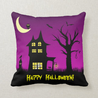 Spooky Haunted House Halloween Decorative Pillow