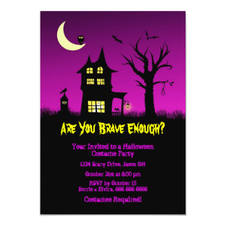 Spooky Haunted House Halloween Party Card