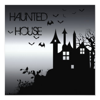 "Spooky Haunted House Invitation 5.25"" Square Invitation Card"
