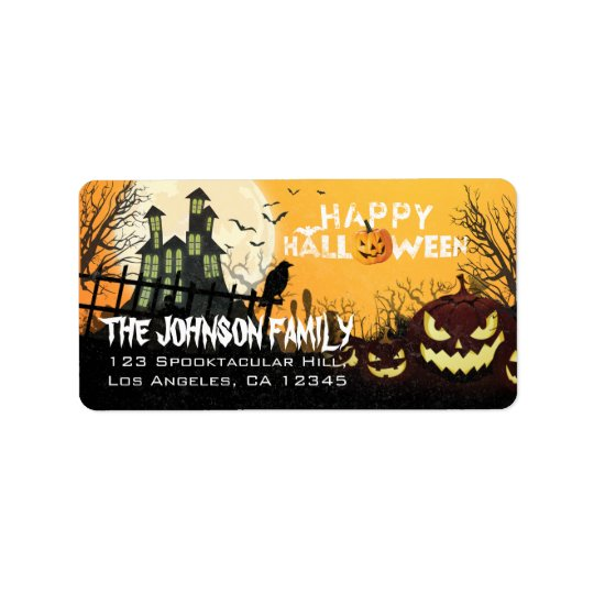 Spooky Haunted House Night Sky Halloween Address Address Label