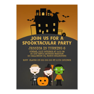 Spooky House Kids Halloween Birthday Invitation