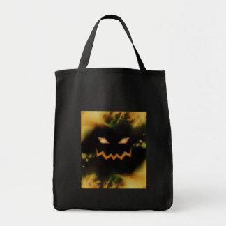 Spooky Jack O Lantern Face Blk Original Orange Canvas Bags