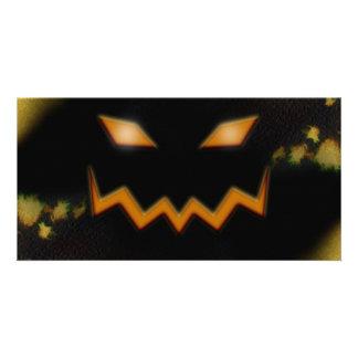 Spooky Jack O Lantern Face Blk Original Orange Photo Card