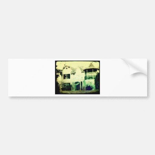 Spooky looking house merchandise bumper sticker