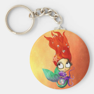 Spooky Mermaid with Octopus Basic Round Button Key Ring