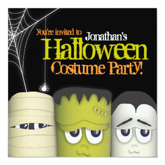 Spooky Monster & Friends Halloween Costume Party 13 Cm X 13 Cm Square Invitation Card