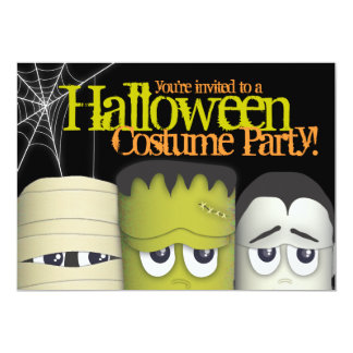 Spooky Monster & Friends Halloween Costume Party 13 Cm X 18 Cm Invitation Card