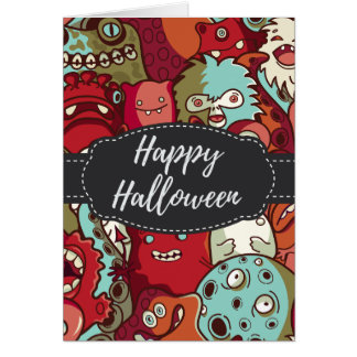 Spooky Monsters Happy Halloween Greeting Card