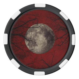 Spooky Moon Halloween Prints Poker Chip Set