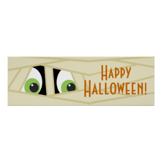 Spooky Mummy Head Halloween Party Banner Poster