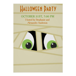 Spooky Mummy Head Halloween Party Poster