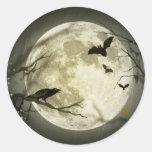 Spooky Night Moon Tree Autumn Destiny Celebration Round Stickers