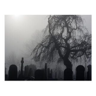 Spooky Old Cemetery On A Foggy Day Postcard