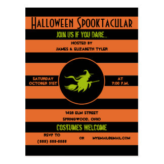 Spooky Orange, Black and Green Halloween Party Postcard