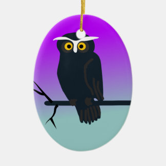 Spooky Owl in Nights Sky Christmas Ornaments