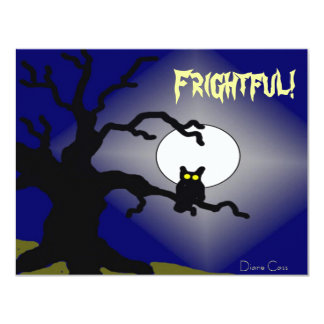 Spooky Owl in Tree Halloween 4.25x5.5 Paper Invitation Card