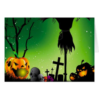 Spooky Pumpkin Graveyard Halloween Greetings Card