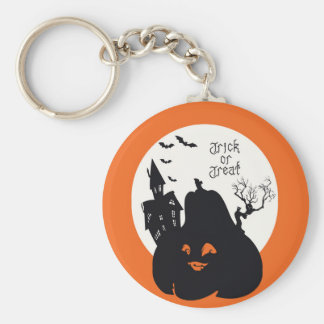 Spooky Pumpkin Trick Or Treat Basic Round Button Key Ring
