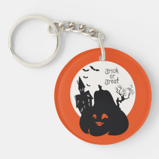 Spooky Pumpkin Trick Or Treat Double-Sided Round Acrylic Key Ring