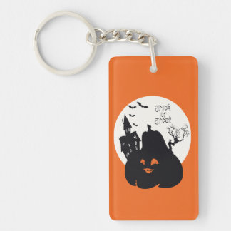 Spooky Pumpkin Trick Or Treat Double-Sided Rectangular Acrylic Key Ring