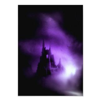 Spooky Purple Haunted Castle 13 Cm X 18 Cm Invitation Card