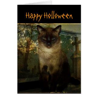 Spooky Siamese Cat Halloween Greeting Card