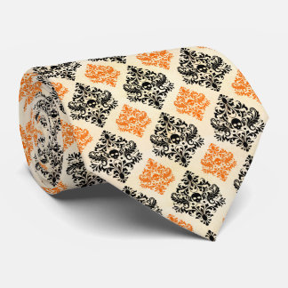 Spooky Skull Pattern Black Orange Gold Halloween Tie