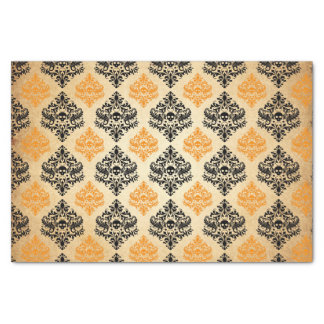 Spooky Skull Pattern Black Orange Gold Halloween Tissue Paper