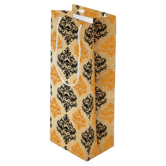 Spooky Skull Pattern Black Orange Gold Halloween Wine Gift Bag
