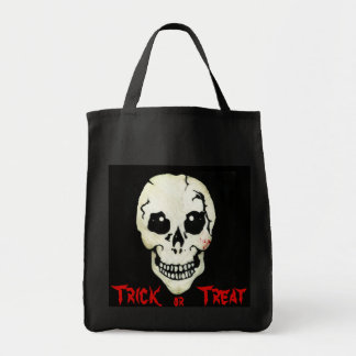 Spooky Skull Red Trick or Treat Halloween Bag