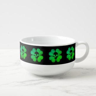 Spooky skull shamrock soup mug
