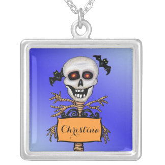 Spooky Skull Tree With Brancha arms Orange Sign Silver Plated Necklace