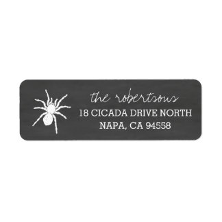 Spooky Spider Chalkboard Halloween Return Address Label