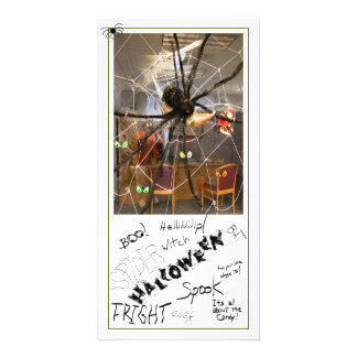 Spooky Spider Halloween Office Decorations Photo Customised Photo Card