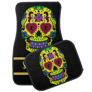 Spooky Sugar skull male with a yellow red face Car Mat