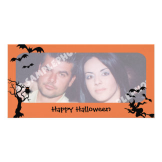 Spooky Tree, Bats and Witch Halloween Photo Cards