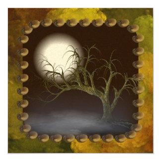 "Spooky Tree Halloween Party Invitation 5.25"" Square Invitation Card"