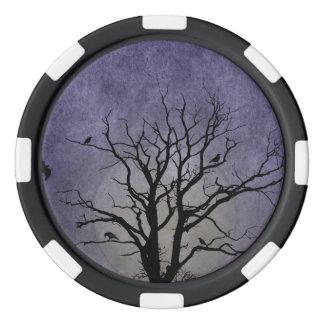 Spooky Tree Halloween Prints Set Of Poker Chips