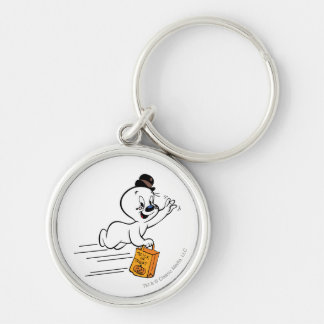 Spooky Trick or Treat 1 Silver-Colored Round Key Ring