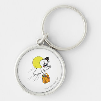 Spooky Trick or Treat 2 Silver-Colored Round Key Ring
