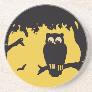 Spooky Vintage Halloween Owl, Tree with Full Moon Drink Coaster