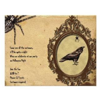 Spooky Vintage Raven Spider Halloween Invitation