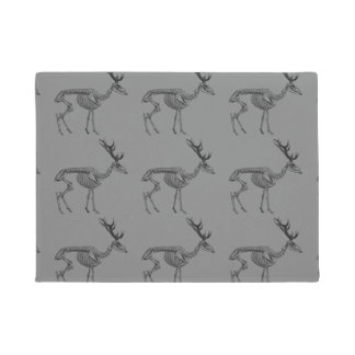 Spooky vintage skeleton reindeer drawing doormat