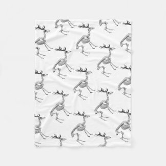 Spooky vintage skeleton reindeer drawing fleece blanket